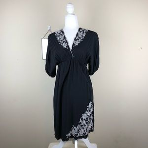 AUW | Black Embroidered Floral Dress Back Tie S